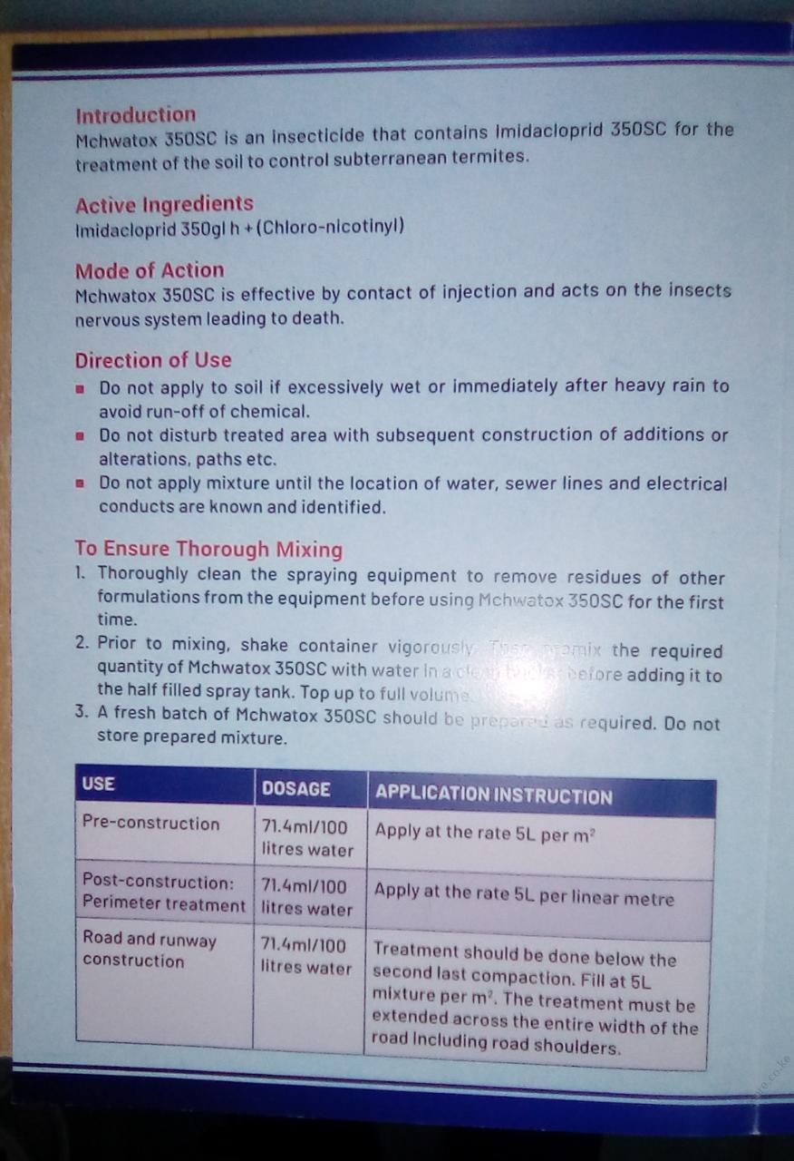 Mchwatox 350sc safety data sheet